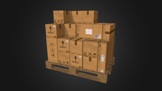 Pallet with boxes (4 in 1) 3D Model