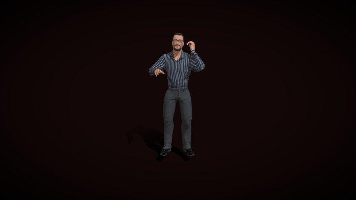Mr Man Talking hard 3D Model