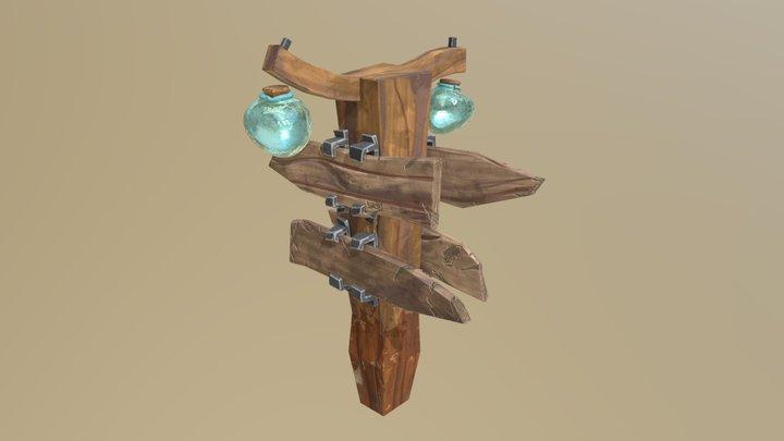 Old Wooden Trail Sign 3D Model