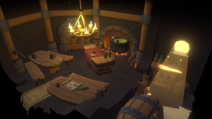 Hand Painted Low-Poly Tavern Scene 3D Model