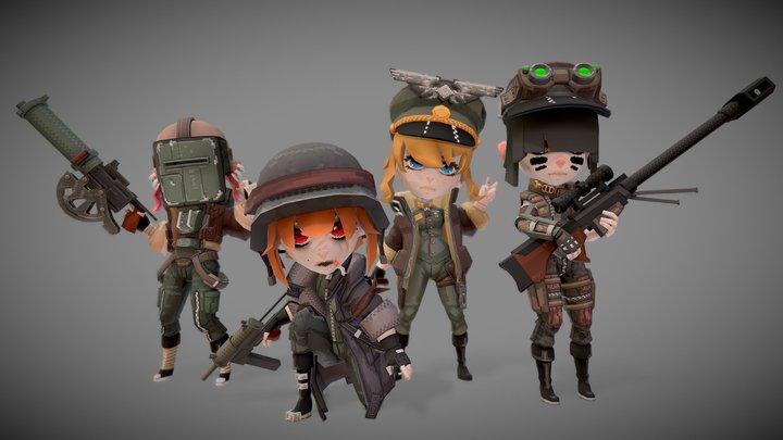 Anime Girl Military Squad 3D Model