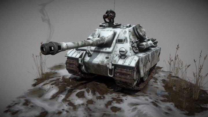 toon tank jagdpanther russian front 3D Model