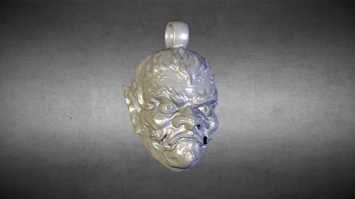 Oni Demon mask pendant. 3D Model