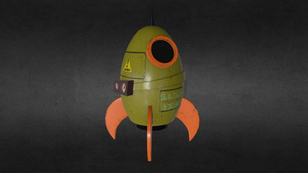 Cartoon Style Spaceship (Low Poly) 3D Model