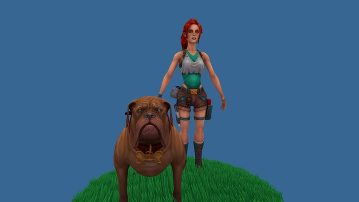 Dog Raider A Pose 3D Model