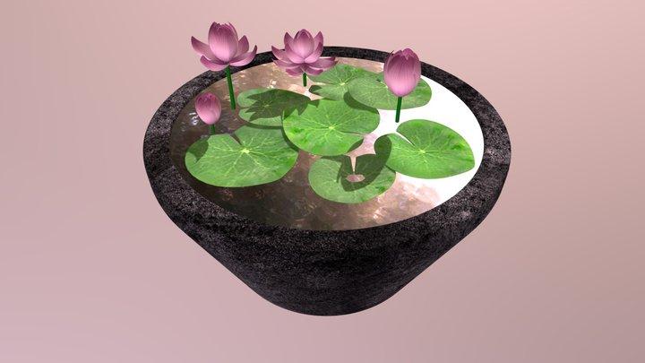 Lotus Flowers in Pot 3D Model