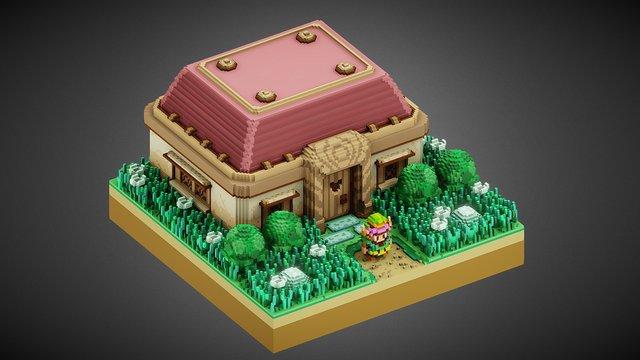 Zelda 3D Voxel Art 3D Model