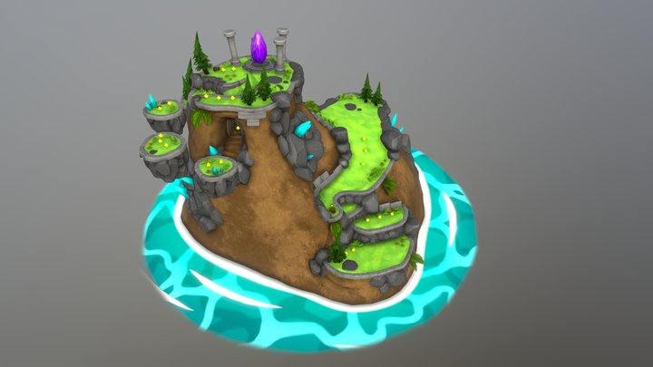 Platformer Island 3D Model