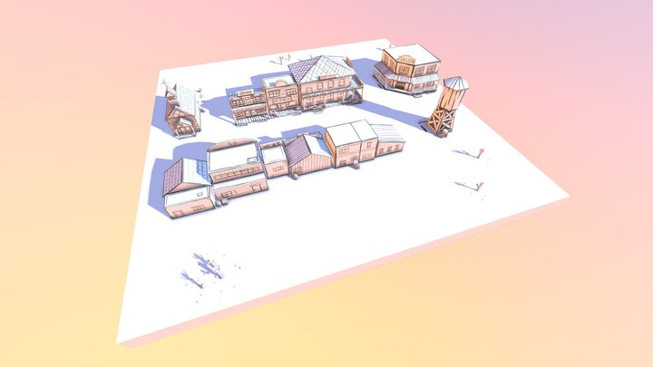 Low poly old west town 3D Model