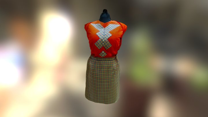 175 Years: Red Plaid Dress 3D Model
