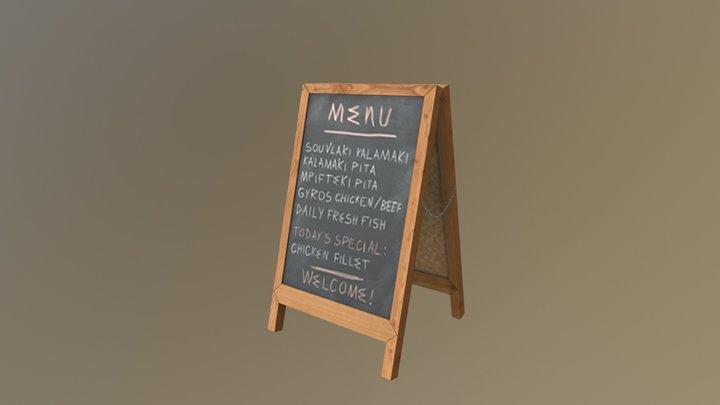 Chalkboard Menu 3D Model
