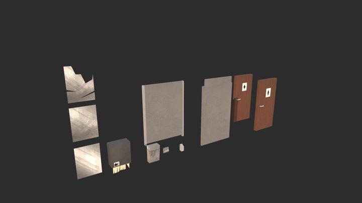 Modulair Bathroom assets (extra) (Post Apoc) 3D Model