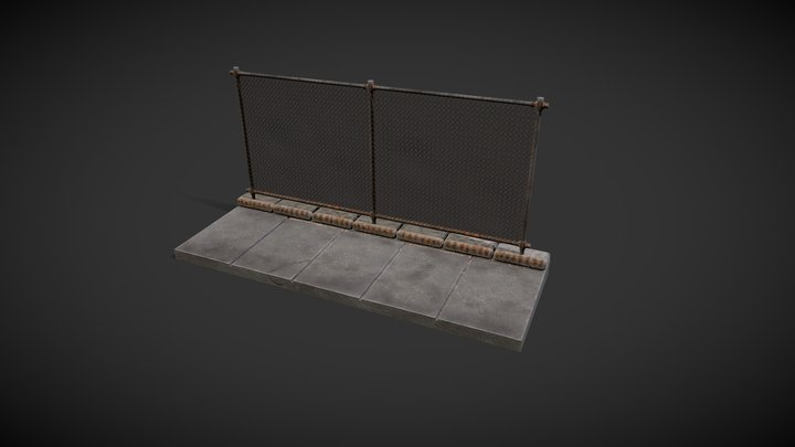 High Poly Chain Fence 3D Model
