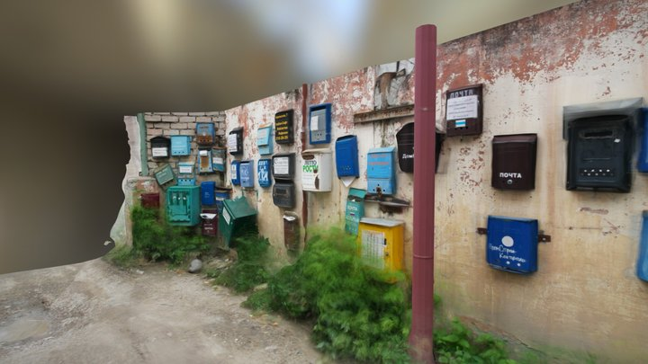 Wall of Mailboxes 3D Model