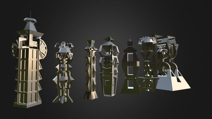 Low-Poly Scifi ( Sci-Fi ) Building Collection 3D Model