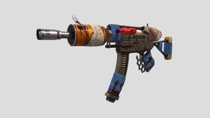"""""""Trasher"""" Post Apocalyptic Crafted Machine Gun 3D Model"""