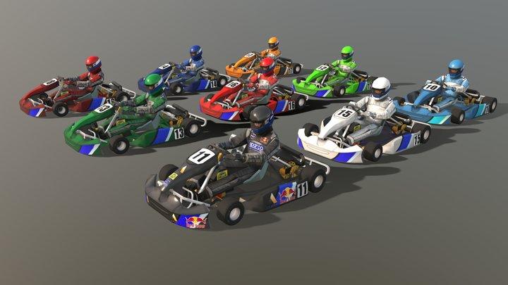 9 Go Karts 3D Model