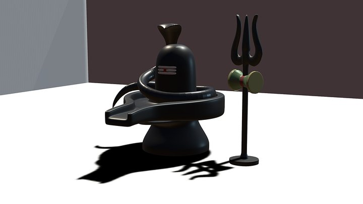 Shiv Ling with snake & Trisul 3D Model