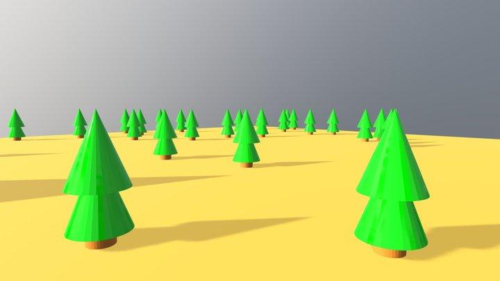 Random Trees Scene 3D Model