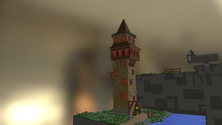 Land Tower #MagicaVoxel 3D Model