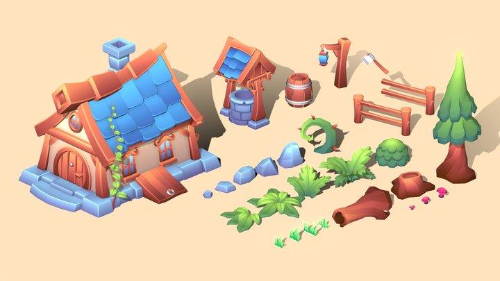 Asset Set - Gradient Forest 3D Model