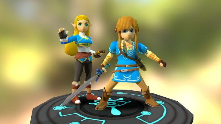 Link and Zelda -Breath of the Wild 3D Model