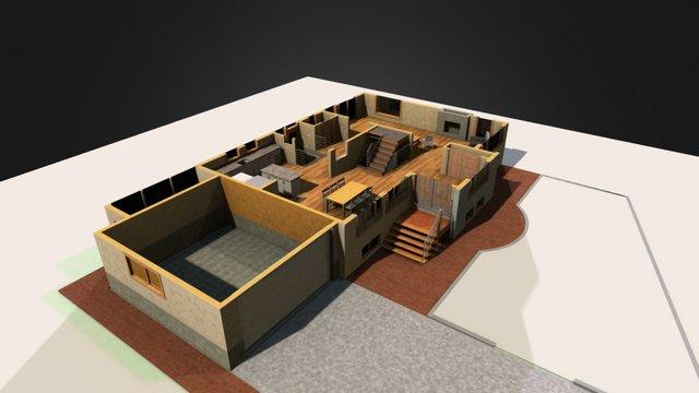 Cutaway view showing first floor 3D Model