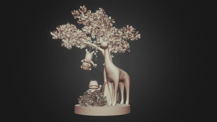 Giraffe & Hippo 3D Model