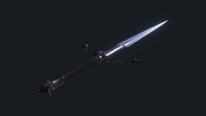 Sword with a plant-themed design 3D Model