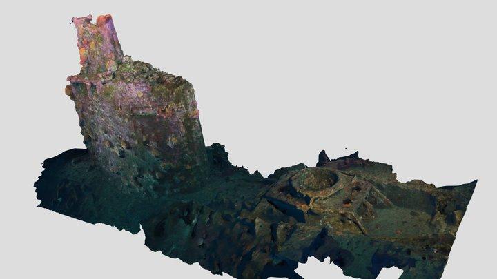 UB88 Conning Tower & Gun Mount 3D Model