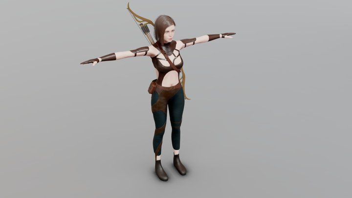 Elf archer Game Ready Low Poly 3D model 3D Model