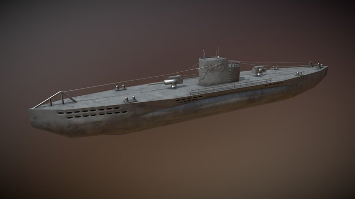 U-boat German Submarine WWII 3D Model