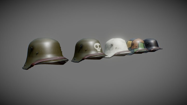 Finnish Winter War & WW1 Stahlhelm M1916 3D Model