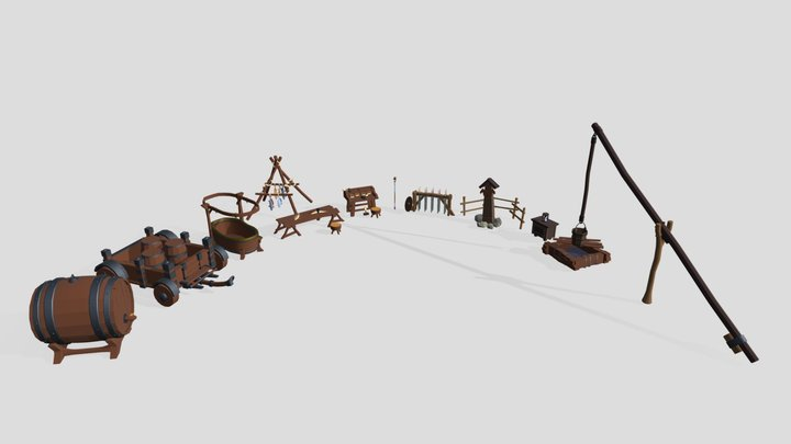 Low poly props pack 3D Model