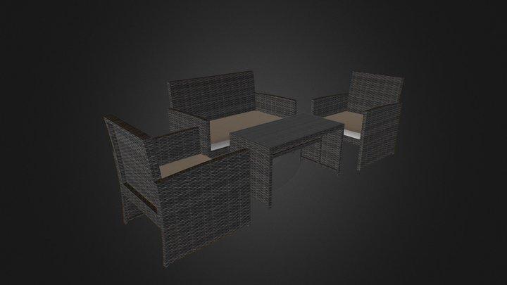 Gray Wicker Sofa Furniture Set 3D Model