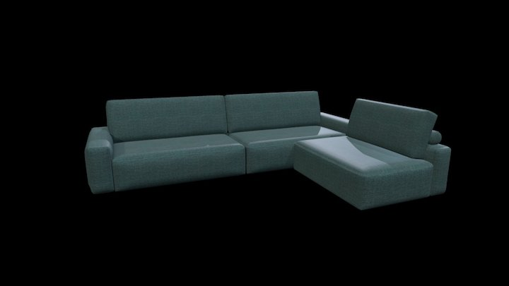 Johnny Sofa with Removable Chaise Longue 3D Model