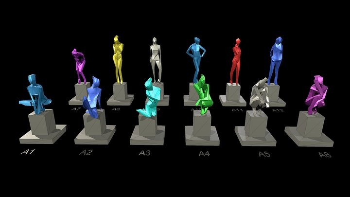 Ultra Low-Poly Full Size Figure Sculptures 3D Model