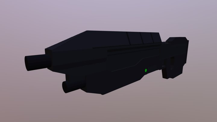 Low Poly Halo Assault Rifle 3D Model