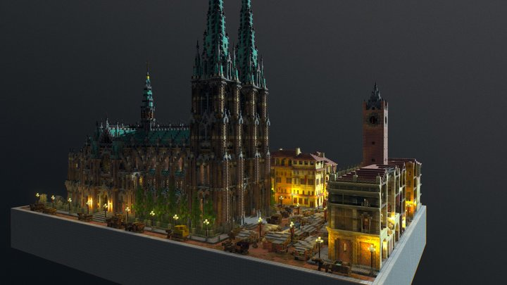 Plaza Night Time 3D Model