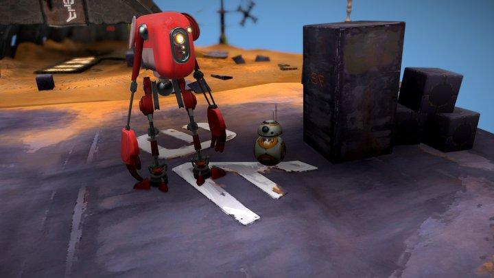 Star Wars Scene with Jar Jar, BB8 & Red Droid 3D Model