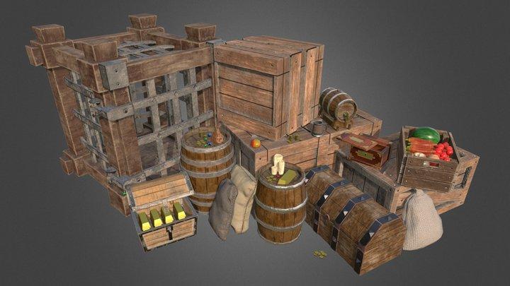 Fantasy Medieval Props 3D Model