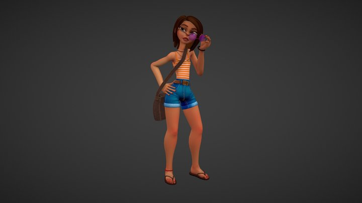 Sam, girl with bag 3D Model