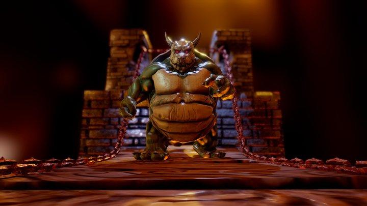 Bowser's cousin Raul, fan art 3D Model