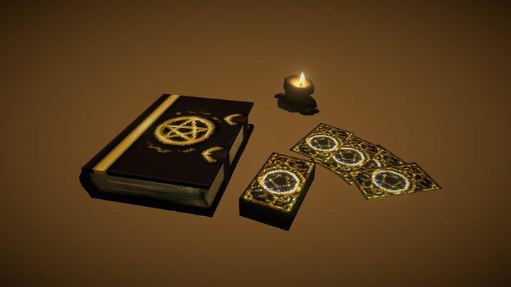 Grimoire, Tarrot & a Candle 3D Model