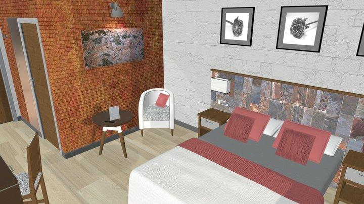 Hotel Room Layout 3D Model