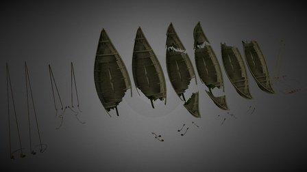 Resdayn Longboat Wrecks Tileset 3D Model