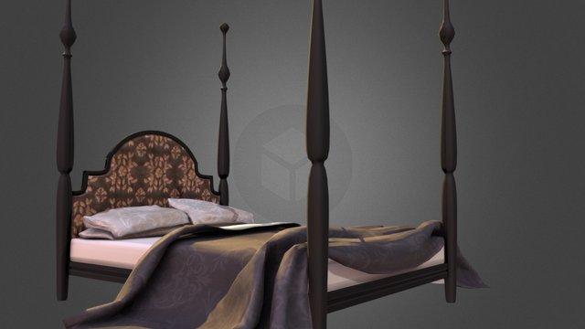 La Parisienne Four Poster Bed 3D Model