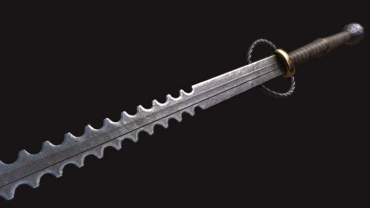 Saw Bidenhänder Sword 3D Model