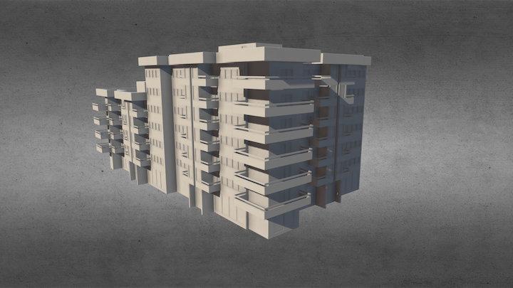 Simple Apartment Building 3D Model