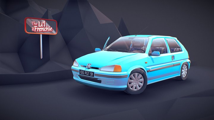 The Li'l Frenchie - PEUGEOT 106 in low-poly 3D Model